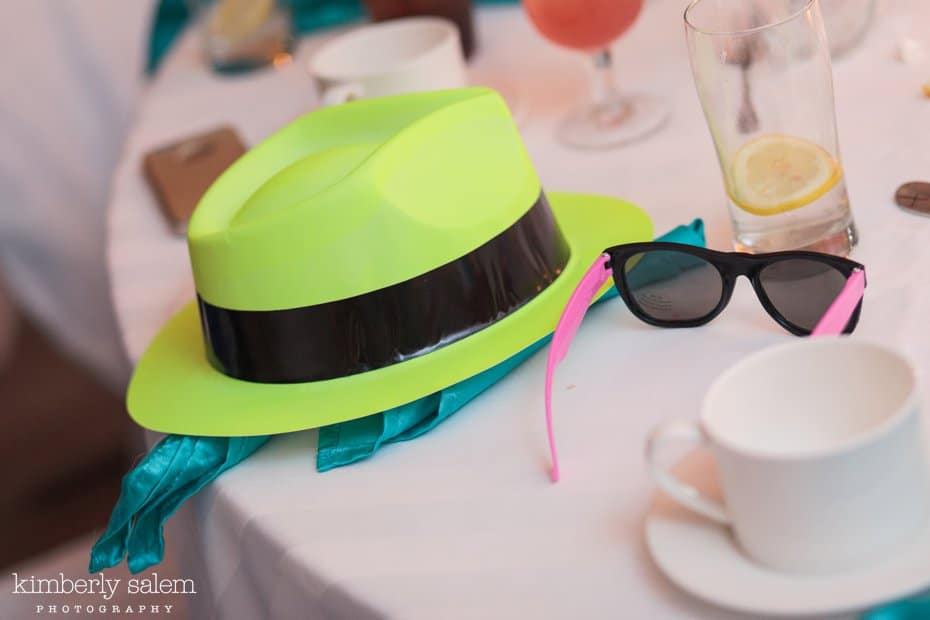 reception detail - hats and sunglasses