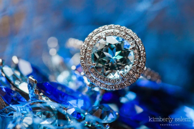 blue sapphire wedding ring with diamond halo