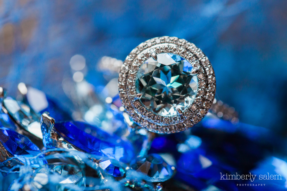 blue sapphire wedding ring with diamond halo