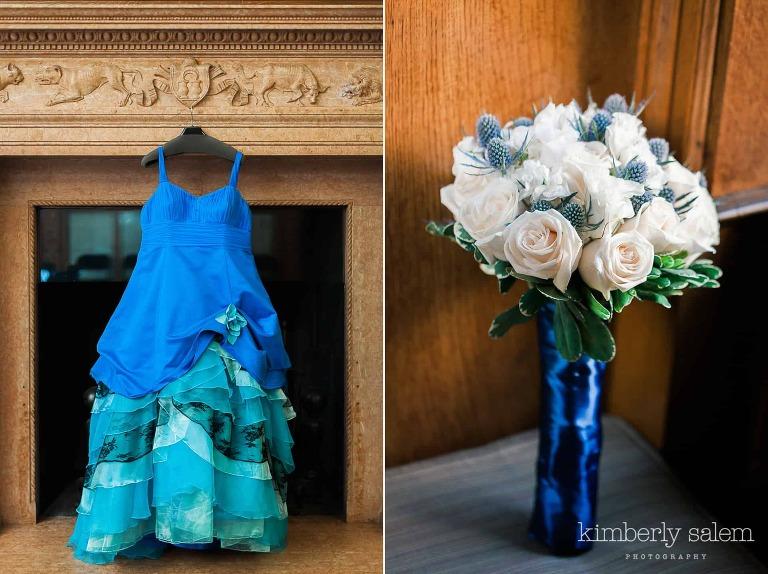 reid castle details - wedding dress and bouquet
