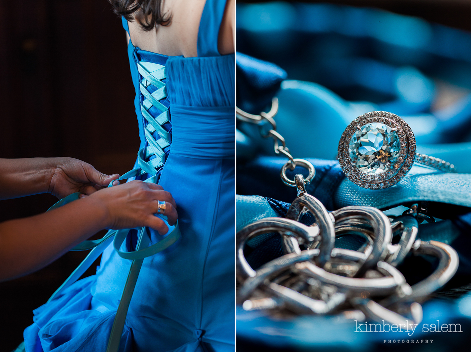 wedding dress detail - lacing up the back - and sapphire wedding ring with celtic knot