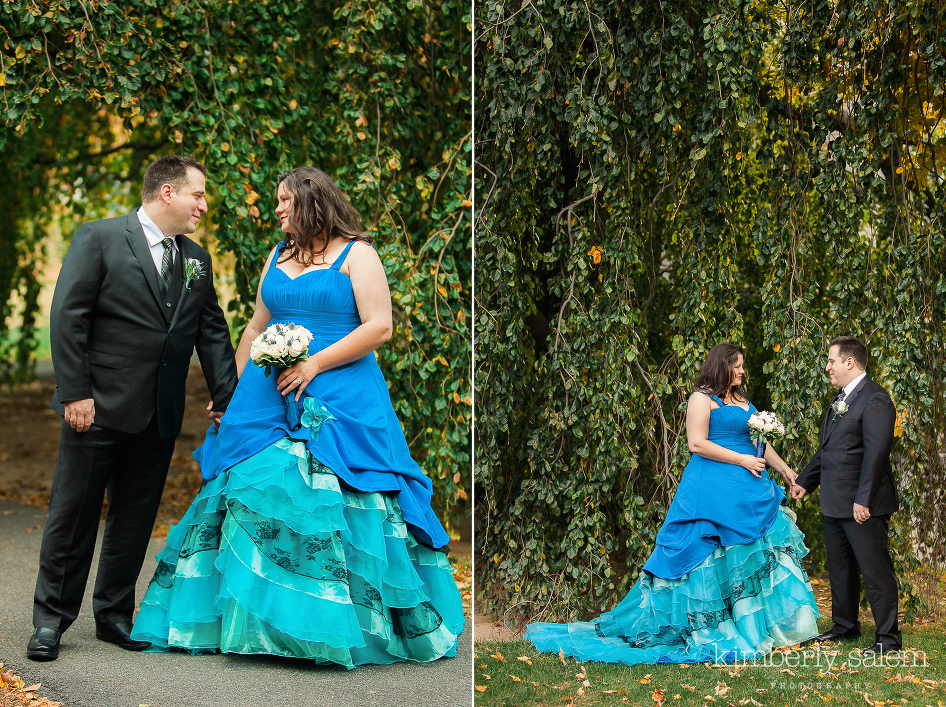 blue dress wedding portraits at reid castle