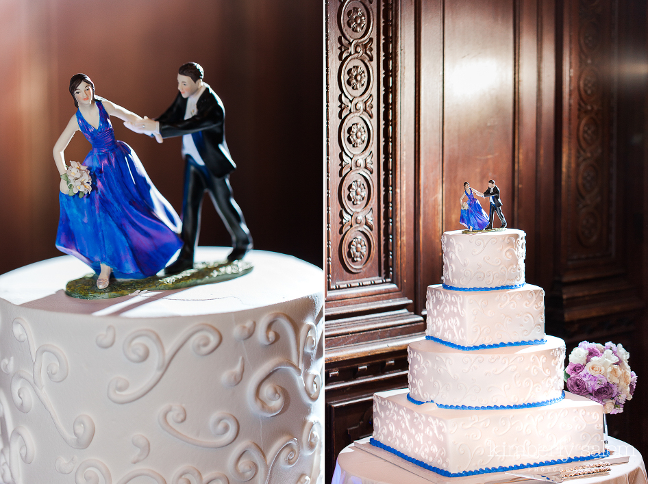 Wedding cake at Reid Castle with blue dress topper